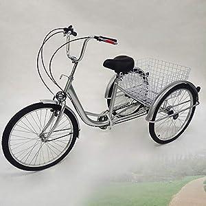 """51tnZUb7PjL. SS300 LianDu 24"""" 6 velocità 3 Ruote Bicicletta da Crociera per Adulti Bici Ibrida Triciclo Bici Triciclo Triciclo Bici con Cesto e Lampada"""