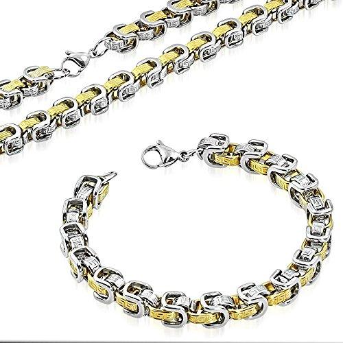 My Daily Styles Stainless Steel Silver-Tone Yellow Gold-Tone Greek Key Necklace Bracelet Mens Jewelry Set