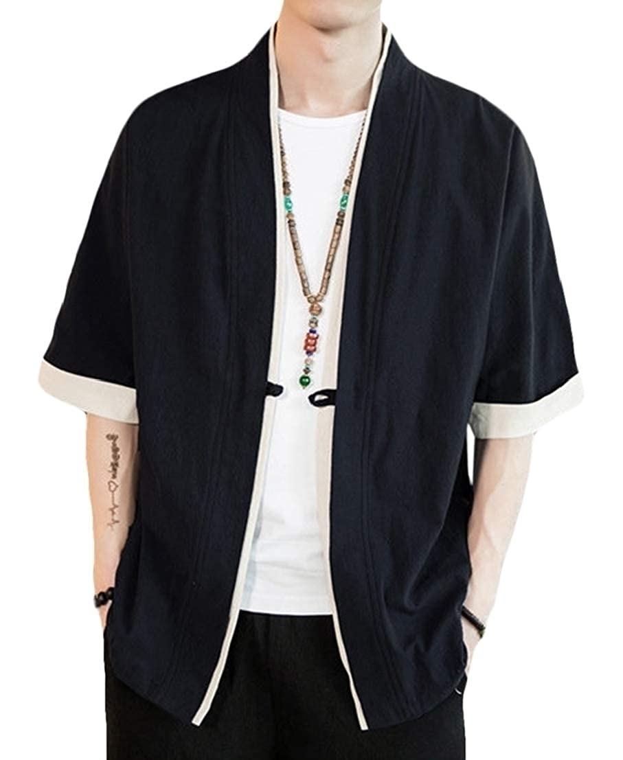 UUYUK Men Plus Size 1//2 Sleeve Frog Button Kung Fu Linen Loose Fit Shirt