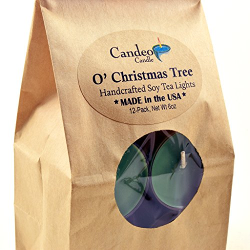 O Christmas Tree, Scented Soy Tealights, 12 Pack Clear Cup Candles