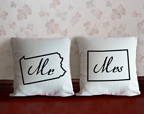 Carcasa diseño de novios almohada Mrs diseño de letra de ...