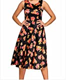 YeeATZ Digital Floral Vintage Swing Dress(Black,L)