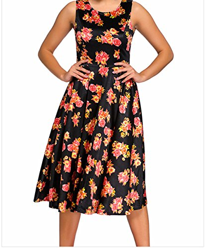 YeeATZ Digital Floral Vintage Swing Dress(Black,L) by YeeATZ