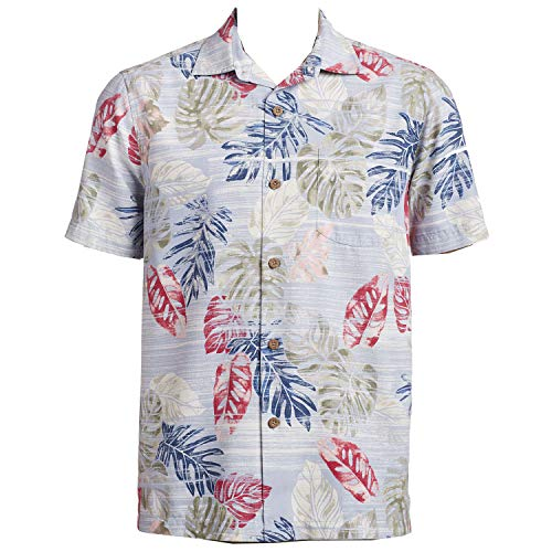 Tommy Bahama Island Zone Botanica Sketch Silk Blend Camp Shirt (Color: Canyon Sky, Size XXL)