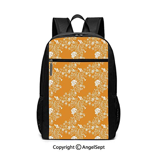 - 17 Inch Backpack School Bags,Tropical Fishes Sea Stars Stylized Cute Blossoms and Leaves Jellyfish Ocean Marine,Orange White,6.5