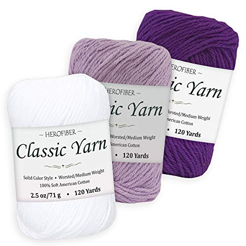Cotton Yarn Assortment | Snow White + Lavender + Royal Purple | 2.5oz / Ball - 3 Solid Colors - Worsted/Medium Weight - for Knitting, Crochet, Needlework, Decor, Arts & Crafts Projects