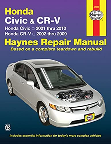 honda civic 2001 2010 crv 2002 2009 haynes repair manual haynes rh amazon com 2013 Honda Civic 4 Doors 2013 honda civic manual book