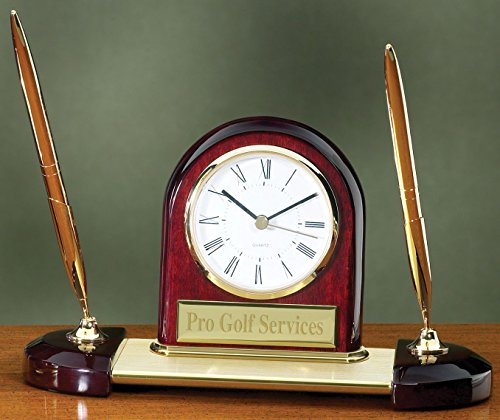 Desk Clock Pen Set with Free Engraving ()
