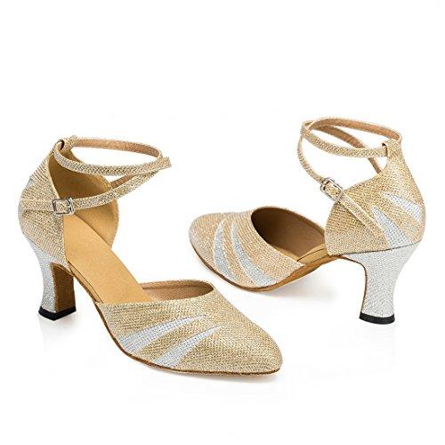 Tda Damesschoenen Stevige Hak Glitter Latin Dansschoenen Tango Jazz Salsa Schoenen Goud