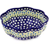 Polish Pottery Colander 9-inch Floral Peacock