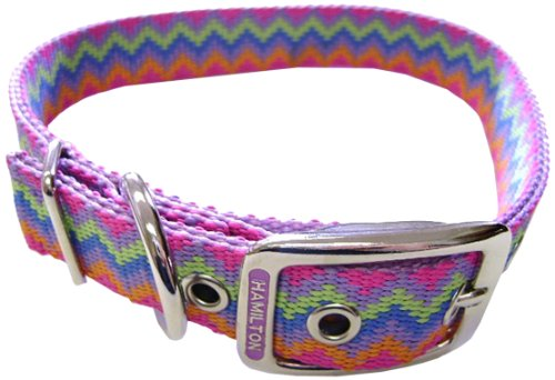 Hamilton Double Thick Nylon Deluxe Dog Collar, 1-Inch by 20-Inch, Weave Multi-Pattern, Lavender