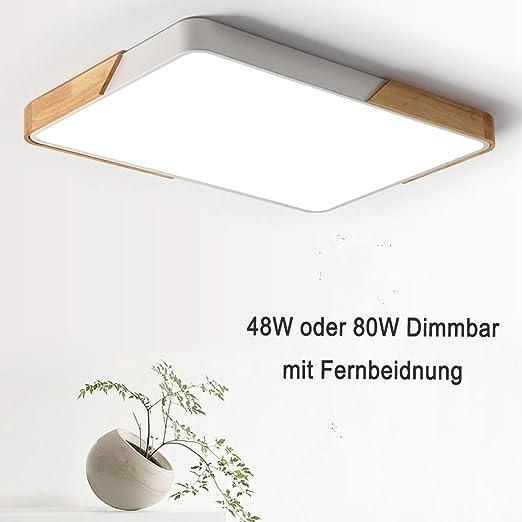 LED Holz Optik Decken Strahler Lampe DIMMBAR Schlaf Zimmer FERNBEDIENUNG Leuchte
