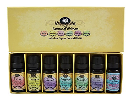 Authentic 100% Pure Organic Therapeutic Essential Oil Aromatherapy Starter Gift Set by Essens Oils - BONUS Stress Relief Blend and eBook
