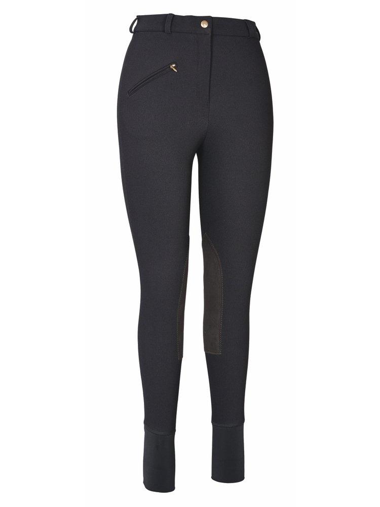 TuffRider Women's Ribb Knee Patch Breeches (Regular), Black, 24