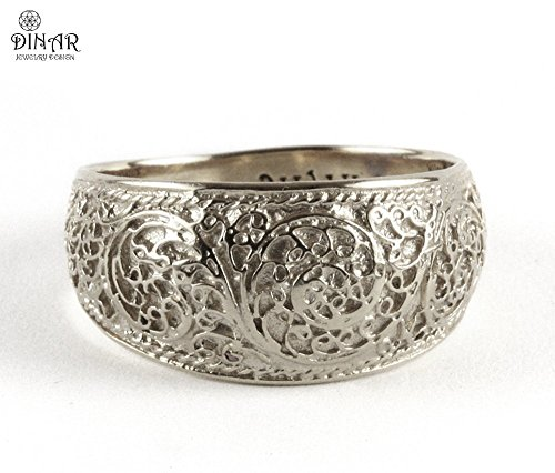 Silver Filigree Band, Vintage ring, sterling silver wedding ring band, 925 silver ring for men and women, antique design, Rhodium plated silver ring band