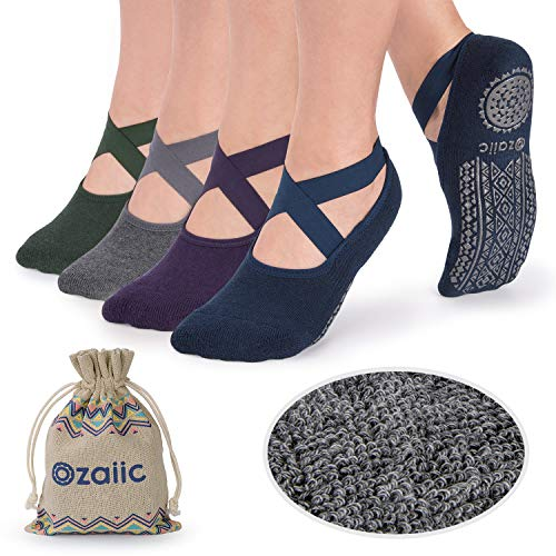 Ozaiic Non Slip Grip Socks for Yoga Pilates Barre Ballet Dance Fitness, Anti Skid Maternity Hospital Labor Delivery Socks with Grips for Women, 4 Pack from Ozaiic