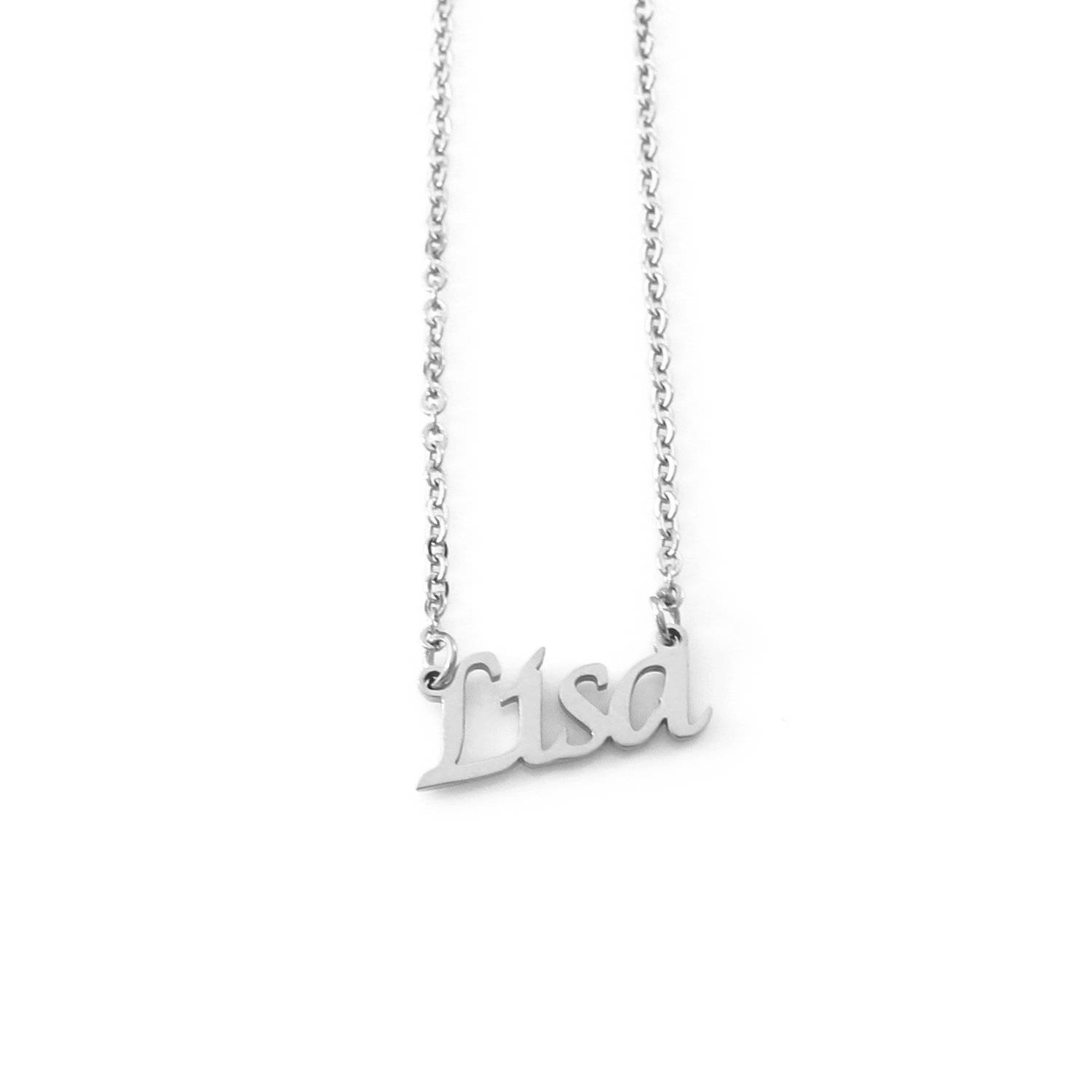 Lisa Silver Tone Name Necklace