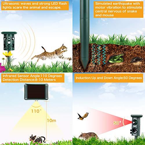 Outdoor Cat Repellent Solar Powered /& USB Charging NEARPOW Ultrasonic Animal Repeller Waterproof PIR Activated Fox Cat Dog Snake Rat Scarer Deterrent with 4 Speakers /& Flashing Light for Garden