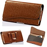 Case+Stylus+Wrap+Cap Horizontal Leather Pouch Fits iPhone Motorola Samsung LG etc. Universal Carrying Wallet Card Pocket Belt Clip, Holster Medium Brown. Fits The Models Below: