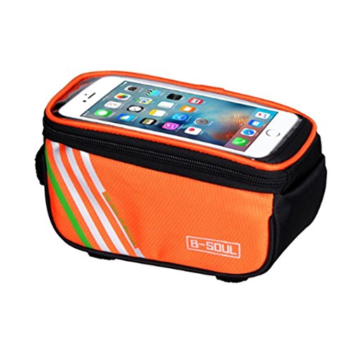 Belloc Bicycle Top Tube Bag - Frame Front Bike Bag - Waterproof Touch Screen Cell Phone Pannier Pouch Holder for Cycling Road Mountain Bicycle (Orange)