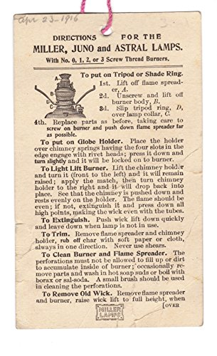 Directions for the Miller, Juno and Astral Oil Lamps circa 1916