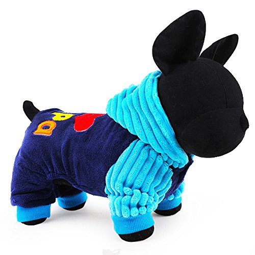 2016 Petcircle Fashion I love papa and mama winter Pet Dog Clothes Clothing For Pet Small Large Dog Coat Winter Clothes Jackets (S, BLUE)