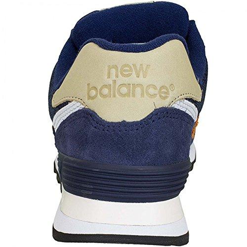 New Balance e Sneaker ML 574 D Leder/Textil Dunkelblau/Orange Dunkelblau