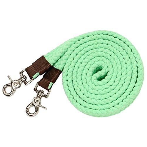 Tough-1 Pro Cotton Roping Rein Neon Green