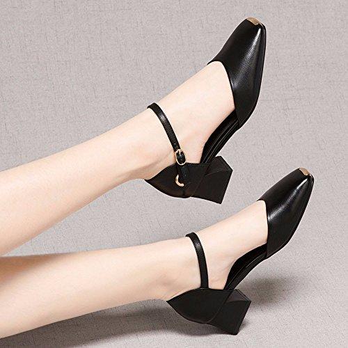 Sandalias black Moda Superficial Cabeza Talón Oriente áspero AJUNR Zapatos Transpirable el Huecas y Verano Elegante Primavera Talón Cuadrada wtdnaTq