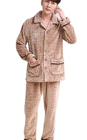 DAFREW Pijamas de los hombres, ropa interior gruesa para el hogar Albornoz de lana de