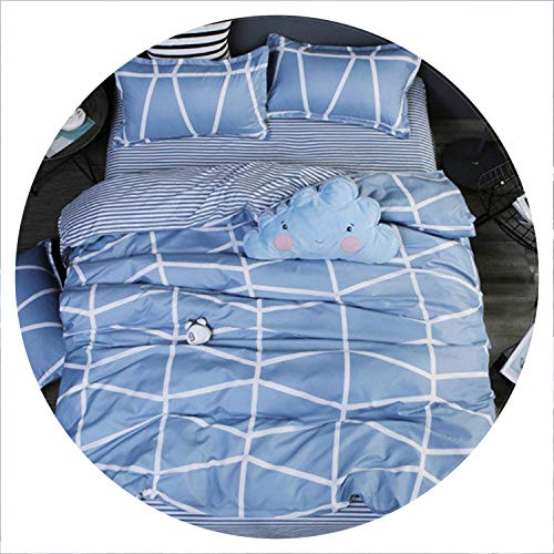 Secret-shop Classic Bedding Set 5 Size Grey Blue Flower Bed Linen 4pcs/Set Duvet Cover Set Pastoral Bed Sheet AB Side Duvet Cover 2019 Bed,Love Blue,Queen