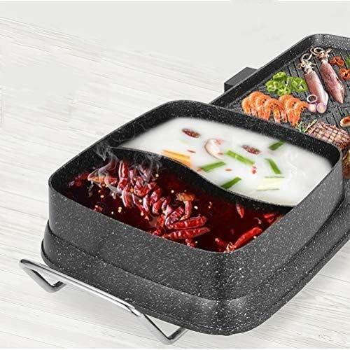 BBQ Hot Pot, contrôle multi-fonction intelligente sans fumée antiadhésive, indépendant de la température Grill Pot intégré, barbecue électrique HAOSHUAI