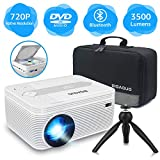 BIGASUO Native 720P Bluetooth Projector Built in DVD Player, Portable Mini Projector 3500 Lumens Compatible with iPhone/iPad/TV/HDMI/VGA/AV/USB/TF SD Card, 1080P Supported