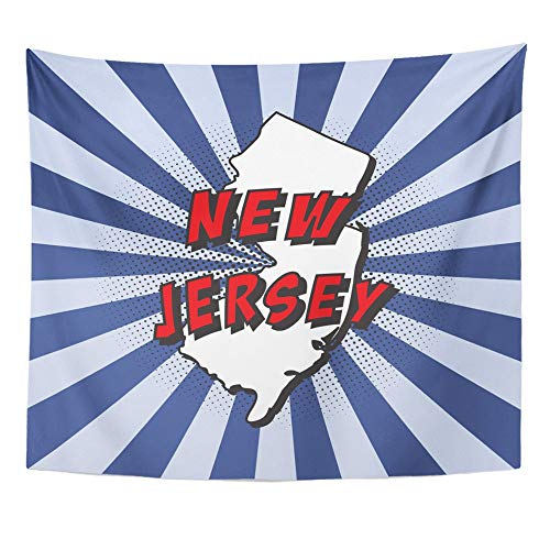 Emvency Tapestry Polyester Fabric Print Home Decor Blue Map of U State New Jersey in Pop with Text and Halftone Dots on Radial Red Wall Hanging Tapestry for Living Room Bedroom Dorm 50x60 Inches - State Shadow Print Jersey