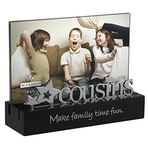 Malden International Designs Cousins Desktop Expressions with Silver Word Attachment Picture Frame, 4x6, Black