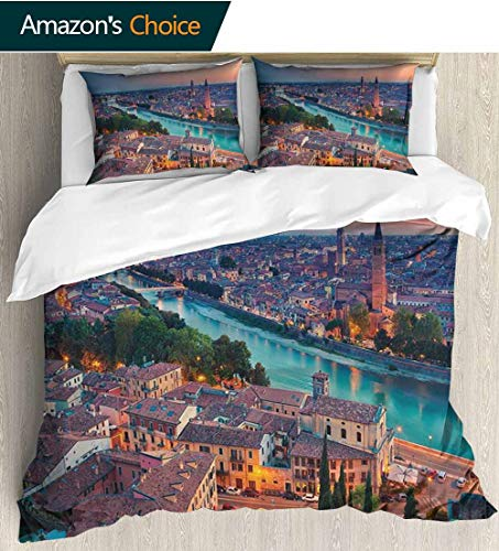 shirlyhome European Bedding Sets Duvet Cover Set,Verona Italy During Summer Sunset Blue Hour Adige River Medieval Historcal Bedding Set for Kids,Boys and Teens 68