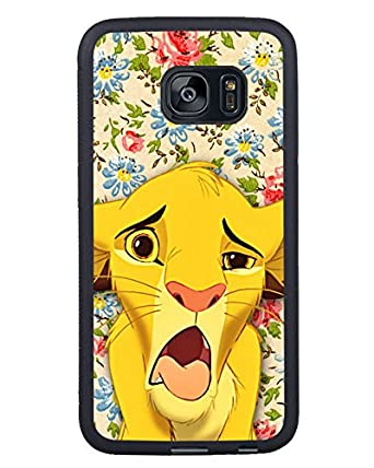 85ed44697db1bb Genuine Samung Galaxy S7 Edge Simba Funny Face Lion King Floral Cute Disney  Black Phone Case: Amazon.co.uk: Electronics