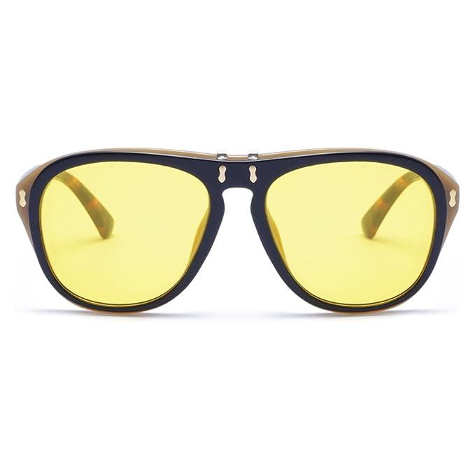 Yiwa big-frame alla moda occhiali da sole con Upturning cover Street Snap party Eyewear Birthday Gift ornamento, Black Frame Gradient Blue Lens