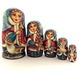 Unique Russian Nesting dolls Hand Carved Hand Painted 5 piece set 7.25'' Tall Girl with a deer