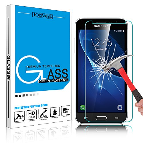 Galaxy J3 Emerge Screen Protector, DONWELL Tempered Glass Screen Cover Anti-shock Bubble Free for Samsung Galaxy J3 2017/J3 Prime/J327P/SM-J327A (1 Pack)