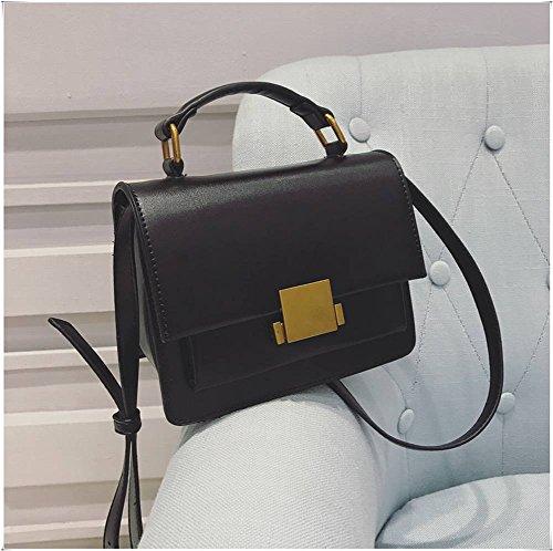 Color de la Cerradura de Golpe Pequeño Bolso Cuadrado Bolsa de Mensajero Bolso Retro Bolso de Hombro de Color Puro , negro