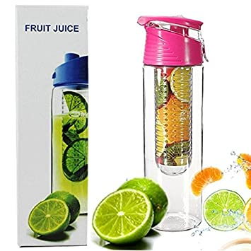 amarillo Scrox El jugo de la tapa del tir/ón de la infusi/ón de la fruta 800ML hace el infusor de la fruta de la botella de agua de la botella