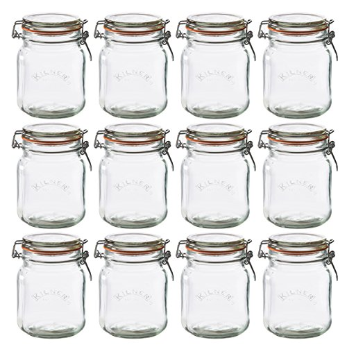 Kilner Square Clip Top Jar, 34-Fl Oz, Case of 12