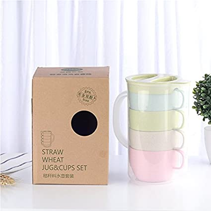 4pcs Colorful Eco-friendly Wheat Straw Cups + Outdoor portátil 1.6ll tetera eléctrica,