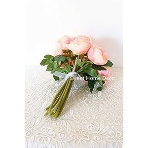 Sweet Home Deco 9'' Soft Silk Ranunculus Flower Bouquet (10 Stems/10 Flower Heads) Wedding/Home Decorations (Peach) 2
