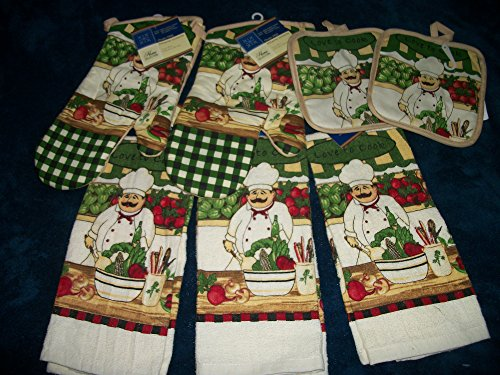 Love to Cook Chef and Vegatables Large Set of Kitchen Dish Towels, WIth Chef Oven Mitts/ Chef Pot Holders. 3 Chef DIsh Towels (Fat Bistro Chef Dishes compare prices)