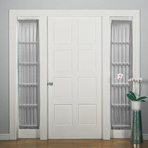 918 Emily Sheer Voile Patio Door Curtain Panel 28  x 72  Charcoal Gray & Door Sidelight: Amazon.com