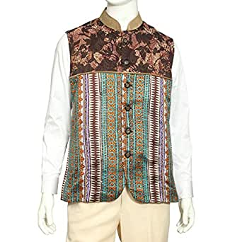 Tia Fashion Multi Color Silk Vest For Men