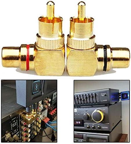 IHUIXINHE Adaptador Divisor RCA,90 Grados /Ángulo Recto Macho a RCA Hembra Conectores de Audio y V/ídeo,Conector Chapado en Oro Paquete de 4