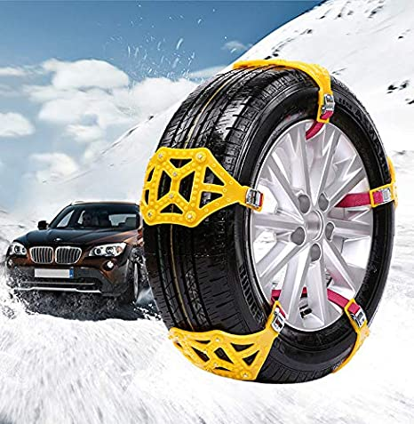 MASO Universal Snow Chains 6Pcs Anti-Skid Snow Chains Portable Easy to Mount Emergency Traction Car Snow Tyre Chains Universal for Tyres Width 165-285mm